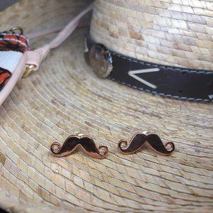 🔥3 For $30🔥NWOT Rose Gold Mustache Earrings